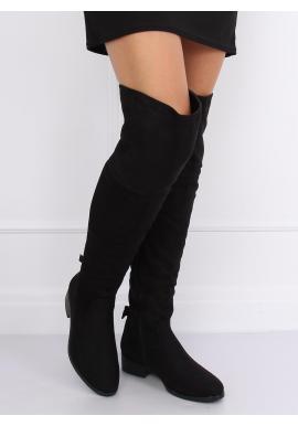Semišové dámske čižmy nad kolená čiernej farby s mašľami