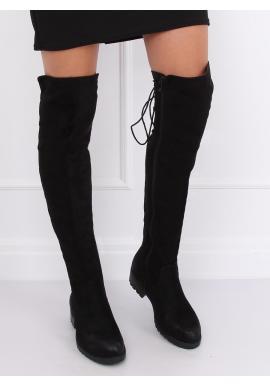 Dámske štýlové čižmy nad kolená s originálnym šnurovaním v čiernej farbe