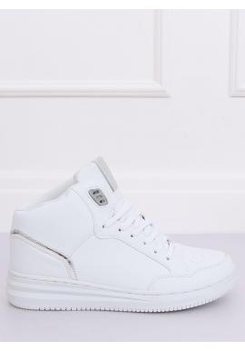 Kotníkové dámske tenisky bielo-striebornej farby
