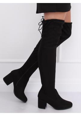 Čierne semišové čižmy nad kolená na nízkom opätku pre dámy