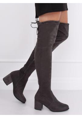 Semišové dámske čižmy nad kolená sivej farby na nízkom opätku