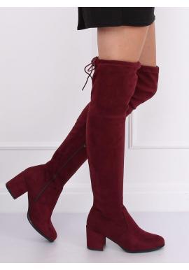 Dámske semišové čižmy nad kolená na nízkom opätku v bordovej farbe