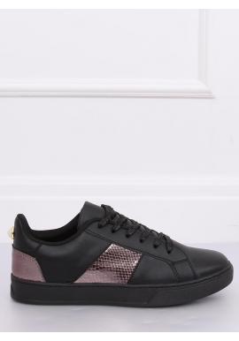 Štýlové dámske tenisky čiernej farby s metalickými vložkami