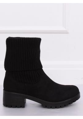 Semišové dámske čižmy čiernej farby na nízkom opätku