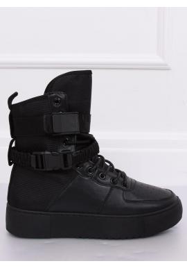 Čierne športové čižmy na vysokej podrážke pre dámy