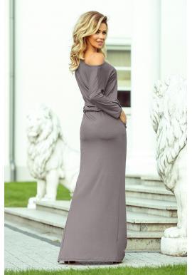 Dámske dlhé šaty s viazaním v sivej farbe