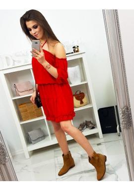 Dámske letné šaty s viazaním na krku v červenej farbe