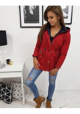 Červená obojstranná bunda na jeseň pre dámy