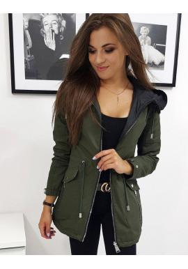 Zelená obojstranná bunda na jeseň pre dámy
