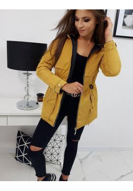 Žltá obojstranná bunda s kapucňou pre dámy