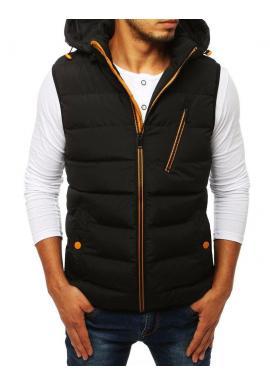 Prešívané pánske vesty čiernej farby s kapucňou