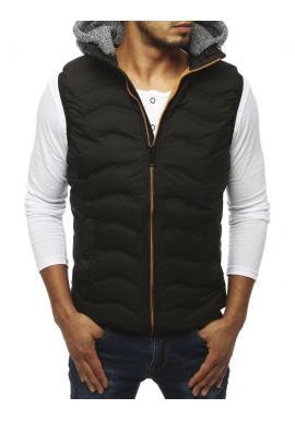 Pánska prešívaná vesta s teplákovou kapucňou v čiernej farbe