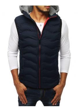 Prešívané pánske vesty tmavomodrej farby s teplákovou kapucňou