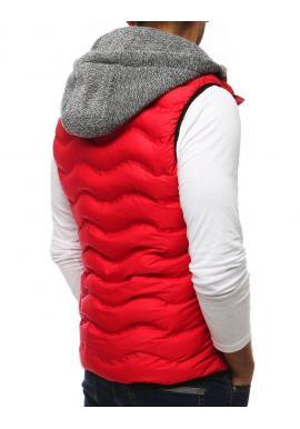 Červená prešívaná vesta s teplákovou kapucňou pre pánov