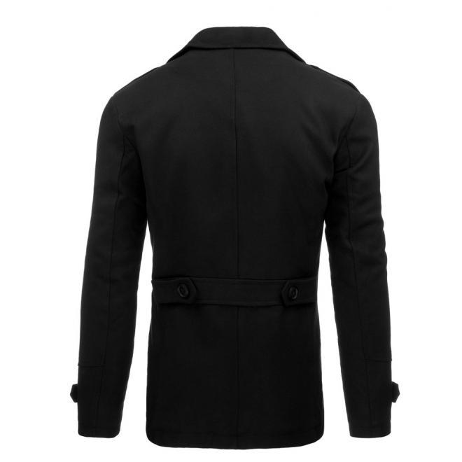 Čierny jednoradový kabát na zimu s odopínateľným golierom