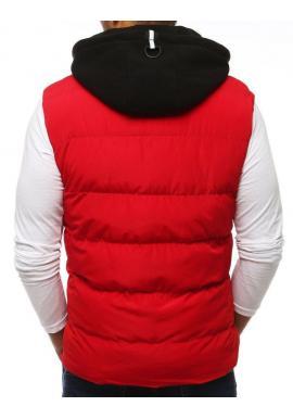Prešívané pánske vesty červenej farby s kapucňou
