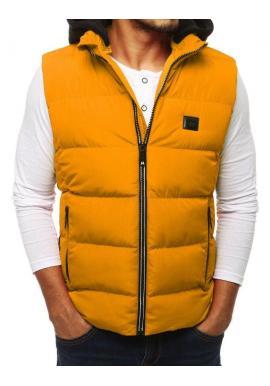 Žltá prešívaná vesta s kapucňou pre pánov