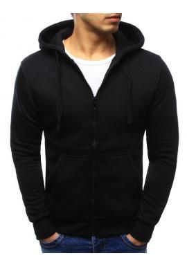 Čierna pánska mikina na zips s kapucňou