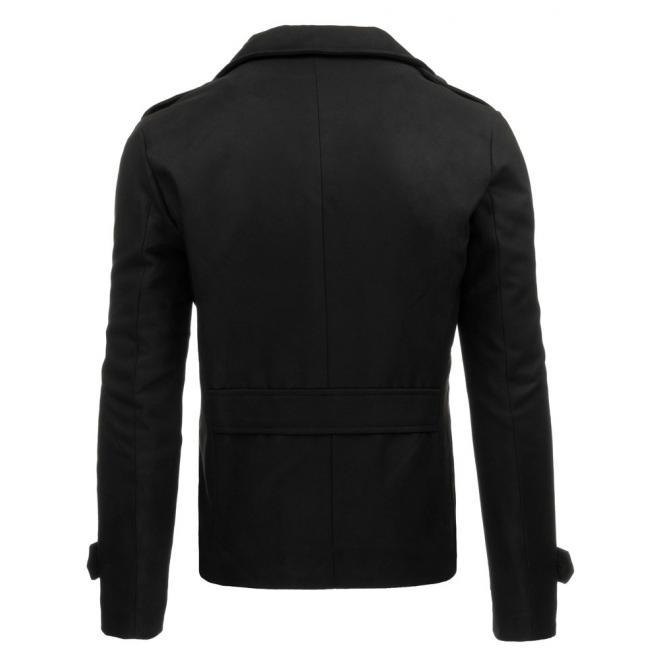Jednoradový pánsky kabát s odopínateľným golierom v čiernej farbe