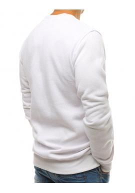 Klasická pánska mikina bielej farby bez kapucne