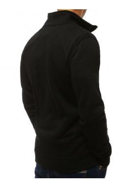 Klasická pánska mikina čiernej farby bez kapucne