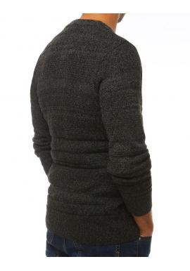 Pánsky klasický sveter s okrúhlym výstrihom v tmavosivej farbe