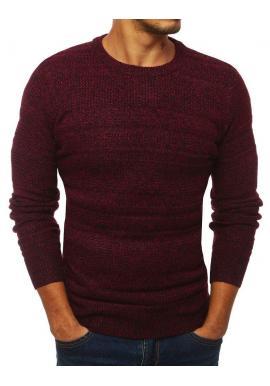 Bordový klasický sveter s okrúhlym výstrihom pre pánov