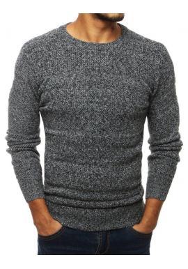 Pánsky klasický sveter s okrúhlym výstrihom v sivej farbe