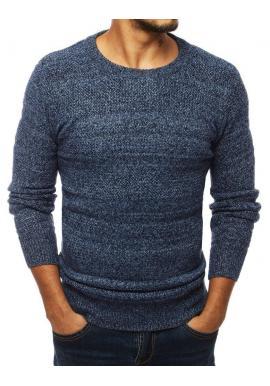 Klasický pánsky sveter modrej farby s okrúhlym výstrihom