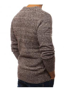 Hnedý klasický sveter s okrúhlym výstrihom pre pánov
