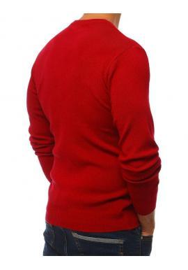 Pánsky klasický sveter s okrúhlym výstrihom v bordovej farbe