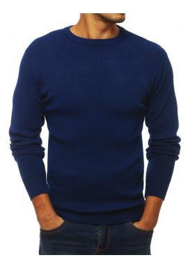Modrý klasický sveter s okrúhlym výstrihom pre pánov