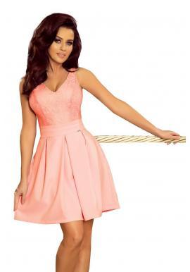 Dámske elegantné šaty s čipkovaným výstrihom v pastelovo ružovej farbe