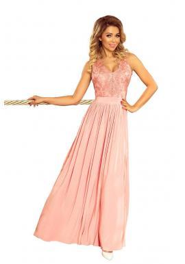 Pastelovo ružové dlhé šaty s vyšívaným výstrihom pre dámy