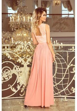 Dlhé dámske šaty pastelovo ružovej farby s čipkovaným výstrihom