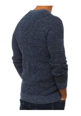 Modrý módny sveter s okrúhlym výstrihom pre pánov