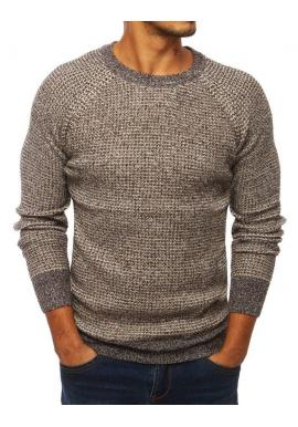 Pánsky módny sveter s okrúhlym výstrihom v hnedej farbe