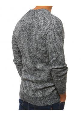 Módny pánsky sveter sivej farby s okrúhlym výstrihom