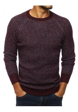 Bordový módny sveter s okrúhlym výstrihom pre pánov