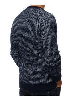 Pánsky módny sveter s okrúhlym výstrihom v tmavomodrej farbe