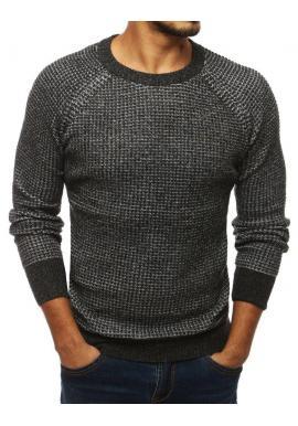 Módny pánsky sveter tmavosivej farby s okrúhlym výstrihom