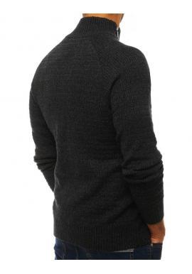 Pánsky melanžový sveter s vysokým golierom v tmavosivej farbe