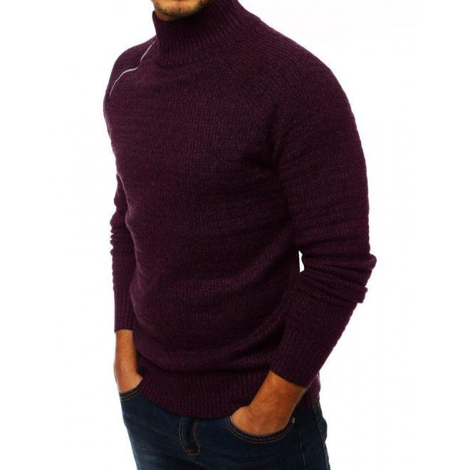 Melanžový pánsky sveter bordovej farby s vysokým golierom