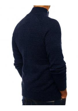Tmavomodrý melanžový sveter s vysokým golierom pre pánov