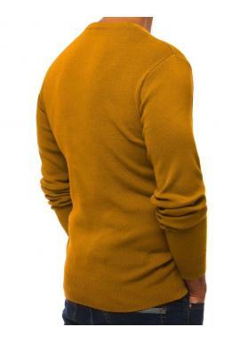 Pánsky klasický sveter s výstrihom v tvare V v ťavej farbe