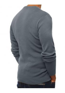 Klasický pánsky sveter sivej farby s výstrihom v tvare V
