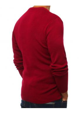 Pánske klasické svetre s výstrihom v tvare V v bordovej farbe