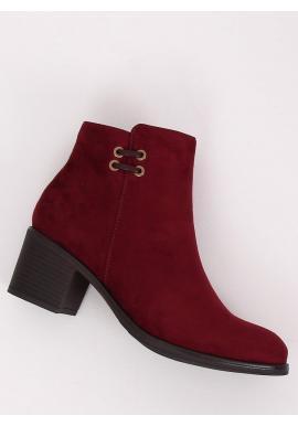 Dámske semišové topánky na širokom opätku v bordovej farbe
