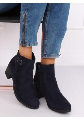 Semišové dámske topánky tmavomodrej farby na širokom opätku