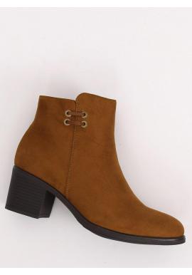 Hnedé semišové topánky na širokom opätku pre dámy